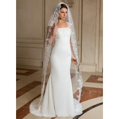 Chapel Bridal Veils Tulle One-tier Drop Veil With Lace Applique Edge Wedding Veils
