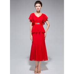 Trumpet/Mermaid Chiffon Short Sleeves V-neck Tea-Length Zipper Up Mother of the Bride Dresses (008211508)