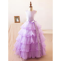 Ball Gown Floor-length Flower Girl Dress - Organza/Satin Sleeveless Scoop Neck With Bow(s) (010104989)