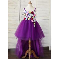 Coupe Évasée Asymétrique Robes à Fleurs pour Filles - Tulle Sans manches Bretelles avec Fleur(s)