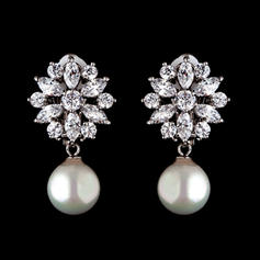Earrings Pearl/Zircon Pierced Ladies' Beautiful Wedding & Party Jewelry
