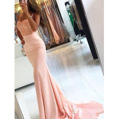 Trumpet/Mermaid Satin Prom Dresses Appliques Lace Sleeveless Sweep Train