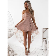 A-Line/Princess Square Neckline Satin Sleeveless Asymmetrical Lace Cocktail Dresses