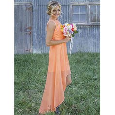 Asymmetrical Scoop Neck A-Line/Princess Chiffon Bridesmaid Dresses (007211694)
