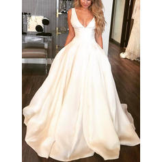Sleeveless V-neck With Satin Wedding Dresses