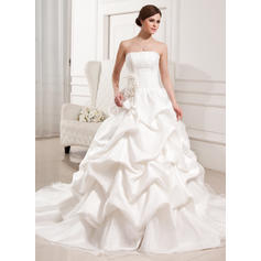 Strapless General Plus - Ball-Gown Satin Organza Wedding Dresses (002196840)