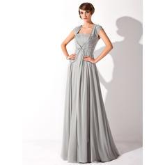 Glamuroso Hasta el suelo Corte A/Princesa Gasa Vestidos de madrina (008211193)