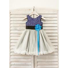 Scoop Neck A-Line/Princess Flower Girl Dresses Flower(s) Sleeveless Tea-length (010210130)