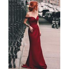Sheath/Column Satin Prom Dresses Beautiful Sweep Train Off-the-Shoulder Sleeveless (018219248)