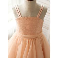 alças de ombro Vestidos princesa/ Formato A Vestidos de daminha Tule/Lantejoulas lantejoulas Sem magas Coquetel (010212079)