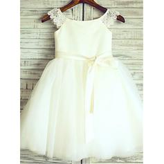 Scoop Neck A-Line/Princess Flower Girl Dresses Satin/Tulle Sash Sleeveless Knee-length (010211877)