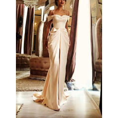 Simple Sweep Train Sheath/Column Wedding Dresses Off-The-Shoulder Satin Sleeveless
