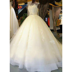 Princess Cathedral Train Ball-Gown Wedding Dresses Scoop Tulle Sleeveless