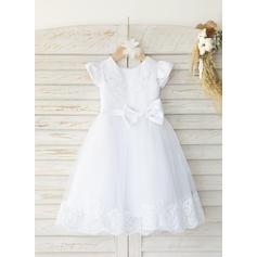 Satén Tul Escote redondo Cuentas Vestidos de bautizo para bebés con Manga corta