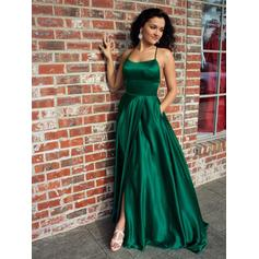 A-Line/Princess Square Neckline Sweep Train Evening Dresses With Ruffle Split Front (017219201)