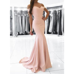 Sexy Charmeuse Evening Dresses Trumpet/Mermaid Sweep Train Off-the-Shoulder Sleeveless