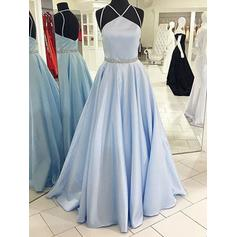 A-Line/Princess Satin Prom Dresses Sash Beading Halter Sleeveless Floor-Length
