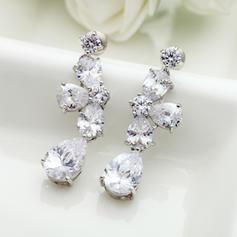 Earrings Copper/Zircon/Platinum Plated Pierced Ladies' Exquisite Wedding & Party Jewelry