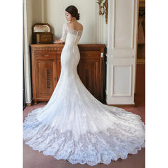 boat neck wedding dresses for women