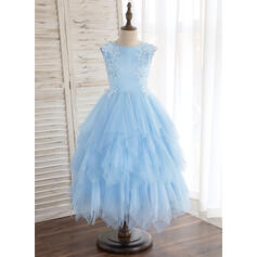A-Line/Princess Tea-length Flower Girl Dress - Satin/Tulle Sleeveless Scoop Neck With Lace