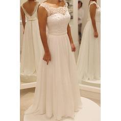 Beautiful Chiffon Wedding Dresses A-Line/Princess Sweep Train Scoop Sleeveless