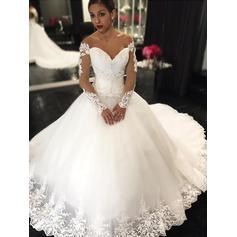 Stunning Off-The-Shoulder Ball-Gown Wedding Dresses Court Train Tulle Long Sleeves (002210835)