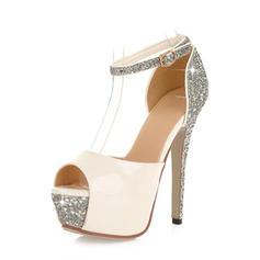 Women's Peep Toe Platform Stiletto Heel Leatherette With Sequin Wedding Shoes