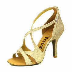 Frauen Latin Heels Sandalen Absatzschuhe Funkelnde Glitzer Tanzschuhe