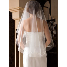 Fingertip Bridal Veils Tulle One-tier Classic With Cut Edge Wedding Veils