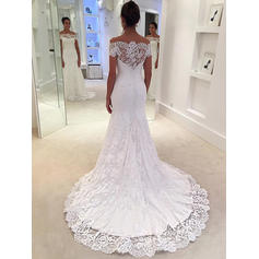 Trumpet/Mermaid Off-The-Shoulder Lace - Sexy Wedding Dresses (002144902)
