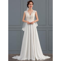 A-Line/Princess V-neck Sweep Train Chiffon Wedding Dress (002127248)