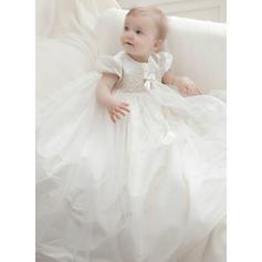 Tyll Scoop Hals Baby Girl's Dåpskjoler med Kortermer (2001216810)
