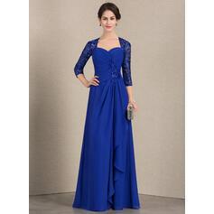 A-Line/Princess Sweetheart Floor-Length Chiffon Sequined Evening Dress With Cascading Ruffles (017164944)