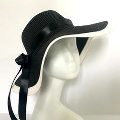 Signore Bella Malacca paglia con Bowknot Cappello floscio/Cappello di paglia
