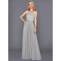Vestidos princesa/ Formato A Cabresto Longos Tule Vestido de festa (017146033)