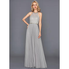 A-Line/Princess Halter Floor-Length Tulle Evening Dress (017146033)