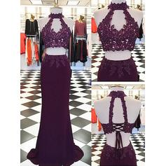 Sheath/Column Halter Chiffon Sleeveless Floor-Length Appliques Lace Evening Dresses