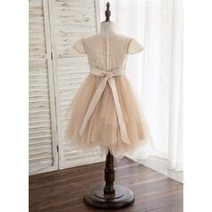Forme Princesse Longueur genou Robes à Fleurs pour Filles - Tulle/Dentelle Manches courtes Col rond avec Paillettes (010148830)