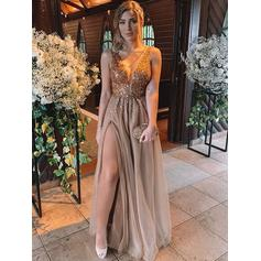 A-Line/Princess V-neck Floor-Length Prom Dresses With Beading Split Front