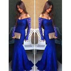Lace Off-the-Shoulder Trumpet/Mermaid Flattering Prom Dresses (018210325)