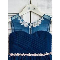 Vestidos princesa/ Formato A Coquetel Vestidos de Menina das Flores - Tule Sem magas Decote redondo com Beading/lantejoulas (010090332)