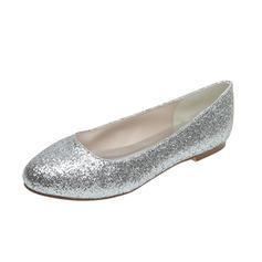 Frauen Funkelnde Glitzer Flascher Absatz Geschlossene Zehe Flache Schuhe