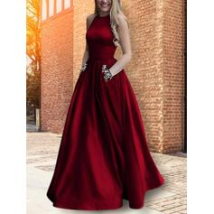 Satin Sleeveless A-Line/Princess Prom Dresses Scoop Neck Beading Floor-Length
