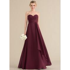 A-Line/Princess Sweetheart Floor-Length Chiffon Bridesmaid Dress With Cascading Ruffles (007144735)