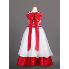 Longueur ras du sol Col rond Organza/Charmeuse Robes de demoiselle d'honneur - fillette avec Dentelle (010007988)