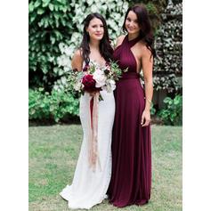 A-Line/Princess Jersey Bridesmaid Dresses Ruffle Halter Sleeveless Floor-Length (007146684)