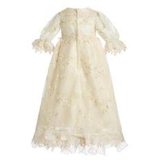 Tulle Col rond Brodé Robes de baptême bébé fille avec manches 3/4 (2001217397)