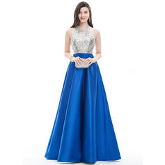 A-Line/Princess Halter Floor-Length Satin Prom Dresses With Beading (018107798)