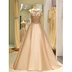 Sweep Train Regular Straps Satin Ball-Gown Prom Dresses