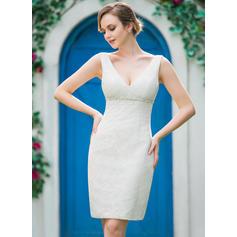 Encaje Vestido tubo Sencillo Cuentas Vestidos de novia